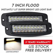 """2x 7"""" Cree Flush Mount LED Light Bar Flood Pods Lights Off-Road Tractor 4WD 12V"""