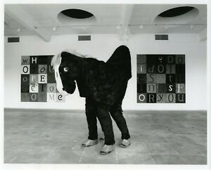 """Mark Wallinger: """"Oh no he isn't. Oh yes he is"""" (1995); installation view print."""