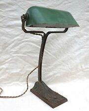 Art Deco Desk Articulated Lamp Cast Iron Base Enamel Tole Shade NIAM 1930