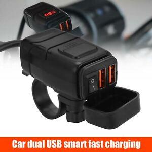 Waterproof Dual USB Port Motorbike Motorcycle Charger Socket Black Power Adapter