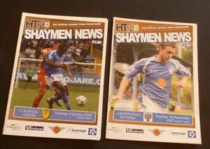 2 x Halifax Town Programmes v Northwich Victoria & Burton Albion Sept/Oct 2007