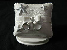White Plastic Wedding Cake Topper Shaped like Ring Bearer Pillow 2.5x2.5""