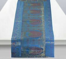 Silk Table Runner New Peacock Design Table Cloth Handmade Vintage Bed Flag