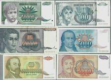 Yugoslavia ✨ 1992 1993 1994 ✨ 6 Vintage Banknotes ✨ Collections & lots #3233