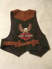 MEN'S HARLEY DAVIDSON Motorcycle suede leather vest. Green/brown, great shape.