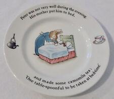 "Wedgwood Child's Plate Beatrix Potter PETER RABBIT Not Feeling Well - 6.75"""
