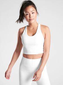 ATHLETA Ultimate Crop A-C Tank Top S SMALL White | Bra Support Workout Shirt NWT