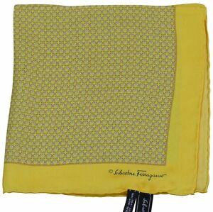 Salvatore Ferragamo Pocket Square/Hanky Yellow Pattern 100% Silk Made Italy