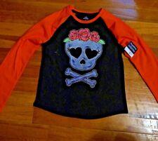 Skull Hearts And Roses Girls  Long Sleeve T Shirt size medium (7-8)
