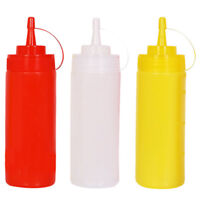 3PCS Kitchen Plastic Translucent White Squeeze Bottles with Tip Cap Pack 16 Oz