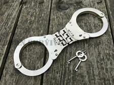 More details for heavy duty triple hinged folding handcuffs silver double locking 2 x cuff keys