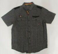 Lrg Wovens Men's XL Gray and Black Short Sleeve Button Up