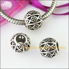 5 Charms Round Flower 4.5mm Hole Beads fit European Bracelet Tibetan Silver 11mm
