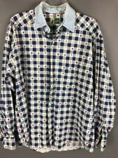 Plaid Button Down Country Farming Farm Vegetables Johnny Cotton Women's Blue