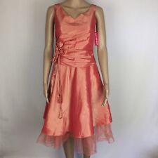 Pink A-Line Knee Length Party Cocktail Dress Drape Flower Detail Size 8 (BG2)