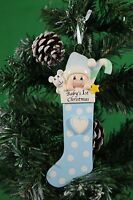 Personalised Baby's 1st Christmas tree Ornament - Baby Boy in Blue Stocking
