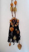 Kette, schwarz mit rost, honig, bernsteinfarbenen Steinen/Perlen mit Kordelkette