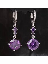 Amethyst 8MM Dangle Drop Earrings 14Kt White Gold 1 Inch Drop NWOT