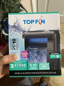 NIB Top Fin Silenstream PF10 Power Filter 5-10 Gallon Aquarium Filter