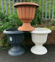 Plastic Round Garden Urn Plant Pot Planter Outdoor Garden Stand Round -3 colours
