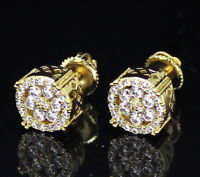 Mens 9mm Round 14k Gold Plated Cz Screw Back Stud Earrings Hip Hop