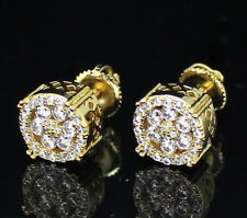 Screw Back Stud Earrings Hip Hop Mens 9mm Round 14k Gold Plated Cz
