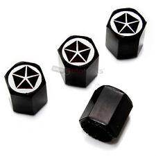 (4) Chrysler Pentastar Dodge Old Logo Black Tire/Wheel Air Stem Valve CAPS