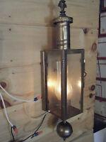 Brass Light Fixture Sconce Antique Patina chimney 17th century Candle Lantern