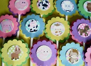30Ct SAFARI JUNGLE NOAH ANIMALS Cupcake Toppers Party Favors, Baby Shower 30