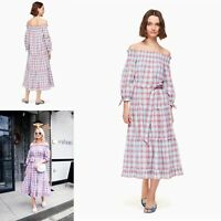 NEW Kate Spade Broome Street Madras Off The Shoulder Dress Plaid Small $268