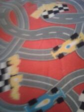 Red cars racetrack fleece print fabric fleece     personalized Blanket 36x30