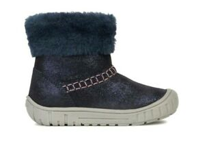 GOEX OMAR GIRLS NAVY INFANT CHILDRENS KIDS CASUAL FUR ANKLE  BOOTS