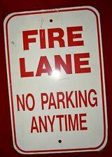 "Vtg NO PARKING FIRE LANE Steel Road  Sign 12x18""  Man Cave firehouse"