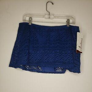 New Catalina Women's Swim Bottom 16 1X Plus Blue Brief Eyelet Skirt Swimwear