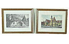 Original etchings Rothenburg ob der tauber bavaria germany 7 x 6 vintage framed