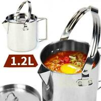 Outdoor Camping Hanging Pot 1.2L Stainless Steel Picnic Kettle Cooking Hot E4M8