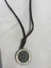 Men's Women's Braided Leather Saint Christopher Necklace by Hollister&CO White