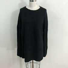 Donna Karan Oversized Sweater Sz M Black Mock Neck Cashmere Blend
