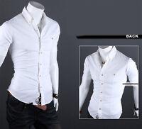 Mens Button Down Shirt Slim Fit Short Sleeve Formal Dress Shirt T-Shirt Tops Tee
