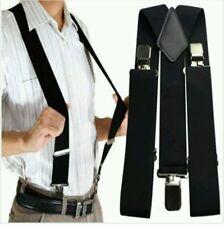 "Unisex 50MM 2"" Plain Black Mens Braces Suspenders Heavy Duty Adjustable Elastic"