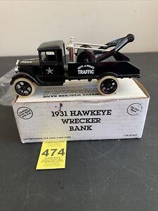 Ertl- Police Traffic 1931 Hawkeye Tow Truck/Wrecker Bank- Scale 1:34 W/Box