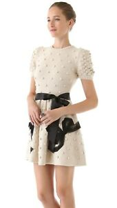 Red Valentino Bow Sweater Dress Size Small Ivory Black