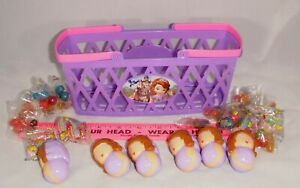 Sofia The First by Disney Party favors with 6 doll  containers in basket