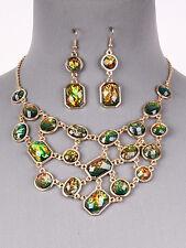 Multi Color Bib Statement Necklace Earrings Gold Tone Women Fashion Jewelry