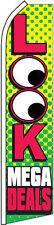 """""""Look Mega Deals"""" super flag swooper banner advertising sign flutter"""