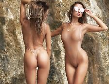 TS Beige One Piece Swimsuit Monokini Thong Low Open Back High Waist Cut Leg Body