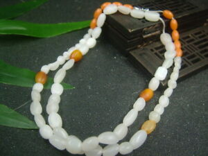 Antique Chinese Nephrite Celadon-Heian WHITE jade 9mm Bead Necklace-Pendant