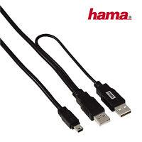 Hama Mini-USB Y-Kabel Adapter 2x USB-A auf Mini-USB-B Stromkabel HDD Monitor 1 m