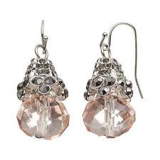 NEW! Simply VERA WANG Hematite Capped Pink Bead Drop Earrings FREE SHIPPING!