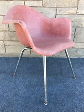 Mid Century Modern Eames Era Style Chromcraft Fiberglass Shell Arm Chair in Red